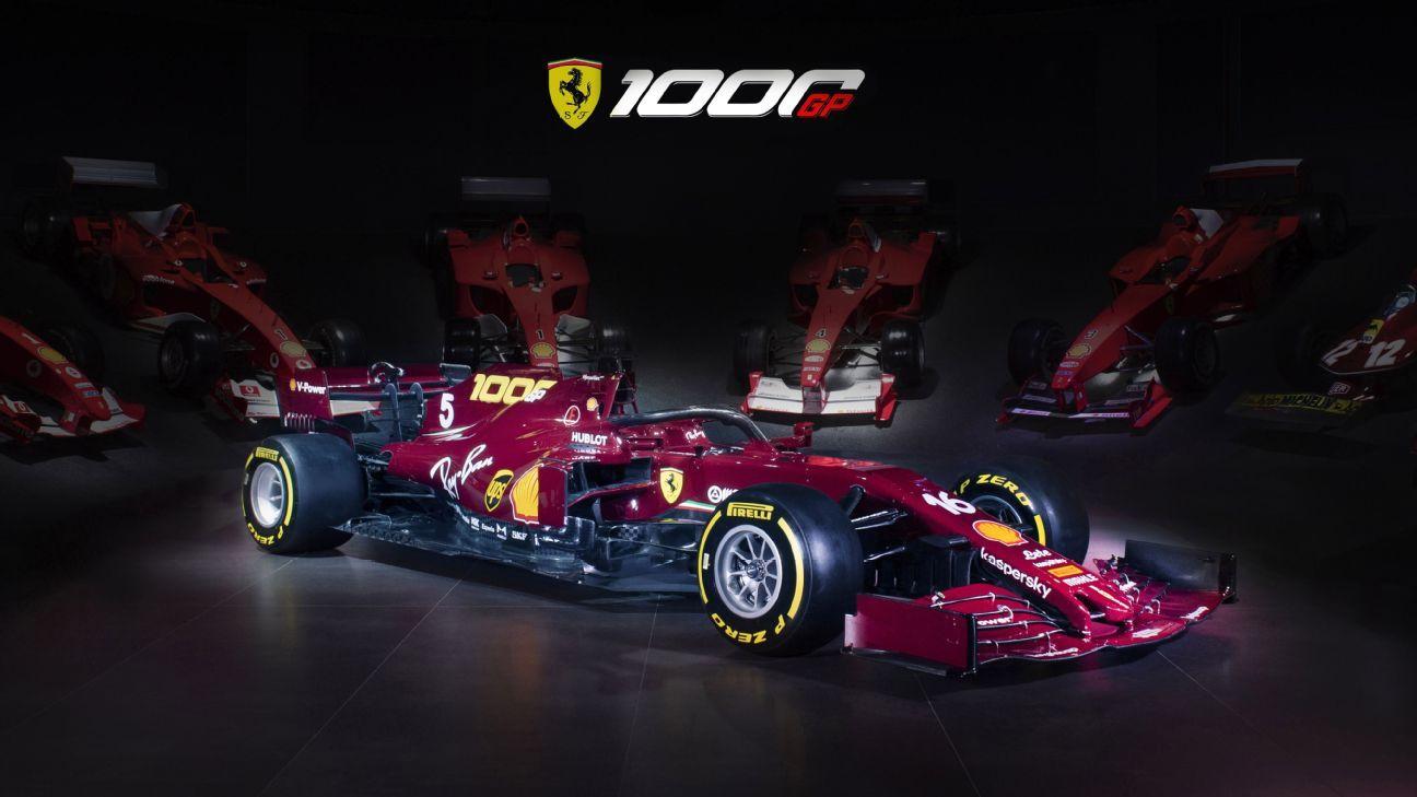 Ferrari reveals burgundy livery for 1000th GP